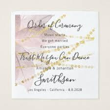 Wedding Program Rose Floral Funny Quotes Gold Napkin