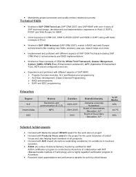 Ui Developer Fresher Resume Example Resume For Sap Abap Fresher Sap