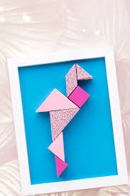 diy wall decor paper. Diy Wall Decor From Paper: Cute Tangram Flamingo Super Easy And Fun To Make ( Paper N