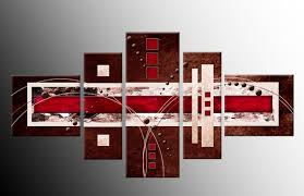 5 panel brown red cream abstract wall art canvasprint 58 on 5 panel wall art uk with red wall art uk elitflat