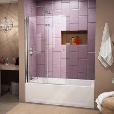 dreamline aqua fold 36 in x 58 in frameless hinged tub door in chrome