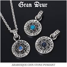 pendant top turquoise moonstone sapphire crest arabesque message english sentence silver 925 nature stone men necklace popularity gift present boyfriend man