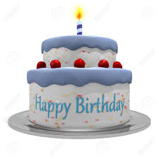 3d Happy Birthday Blue Cake For Boys Stock Photo Picture And