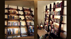 leaning bookshelves can be great space savers that look great in even small spaces this set of good looking hand built bookshelves also pack under shelf