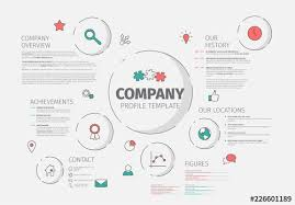 Company Overview Templates Circular Infographic Layout With Red And Teal Accents Buy