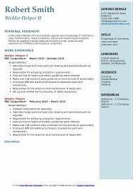 Resume Helper Free Welder Helper Resume Samples Qwikresume