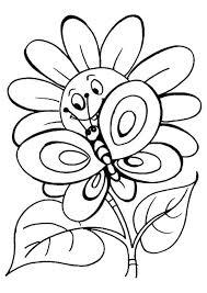 Disegno Di Fiore E Farfalla Da Stampare Gratis E Da Colorare Per