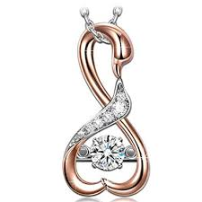 dancing heart mothers day necklace gifts 925 sterling silver swan rose gold women pendant anese stone