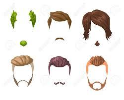 ひげ髭と髪型のセット異なる男性スタイルや髪型の種類ベクトル図は