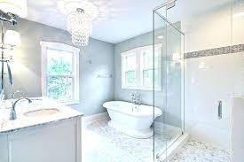 astounding bathroom chandelier lighting ideas chandelier in bathroom spa like master bath with glass chandelier and astounding bathroom chandelier