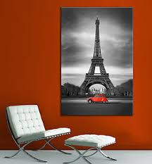 image is loading eiffel tower red car paris black white canvas  on wall art black white and red with eiffel tower red car paris black white canvas print home decor wall