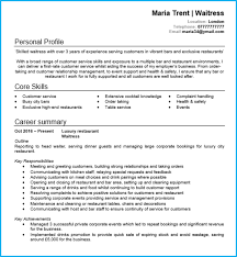 waitress sample resume waitress or waiter cv example with writing guide and cv template