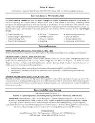 Engineering Resume Formats Systems Engineer Sample Resume Electrical