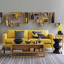 yellow interior design gray wall yellow