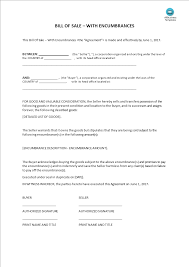 Bill Of Sale For Business Bill Of Sale With Encumbrances Templates At Allbusinesstemplates Com