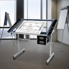 office glass desks. Drafting Table Drawing Adjustable Tilt Castors Glass Desk W/Storage Drawer Office Desks