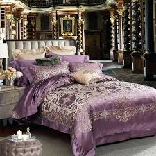 new luxury mulberry silk comforter set king size purple flower bed sheet wedding couple home