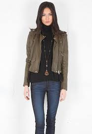 ashville cropped leather jacket in olive green designed by iro