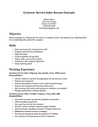 Customer Service Representative Resume With No Experience Free