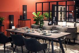 red backdrop gray dining chairs natural dining table dining sets modern industrial dining room