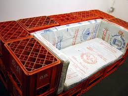 Milk Crate sitting area for the basement or garage, even for a kid's room or