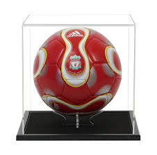 acrylic football display case including a wooden base acrylic stand from widdowsons ltd football display cases widdowsons ltd