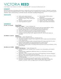 Waitress Responsibilities Resume Samples