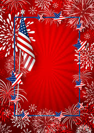 Usa Background Of America Flag And Fireworks With Line Frame