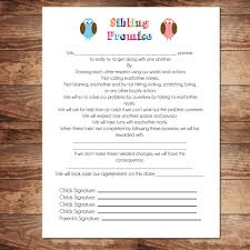 Printable Instant Download Sibling Contract By