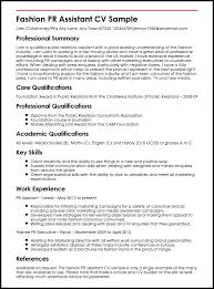 fashion pr assistant cv sample myperfectcv
