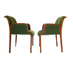green upholstered chairs. Pair Thonet Arm Chairs / Vintage Sculptural Bentwood Chair /Accent Lounge Green Upholstered A