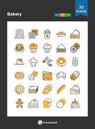 Bakery Icon Pack 30 Filled Outline Icons Food Drinks Bakery