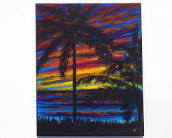 brightly colored tropical ocean sunset with bold colored clouds palm tree silhouettes on a 16x20 vertical painting colorful beach decor