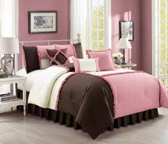 pink brown ivory bedding comforter set queen com emiko by chezmoi collection luxury ruffles patchwork