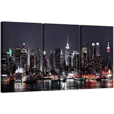 new york city canvas. Contemporary Canvas Display Gallery Item 5 Set Of 3 City Canvas Art New York USA Skyline 3187  6 And R