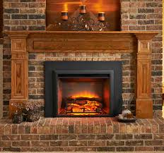 classic electric fireplace insert with black frame and bricked wall plus chandelier for home ideas