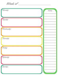 Horizontal Weekly Planner Template Single Week Calendar Rome Fontanacountryinn Com
