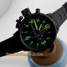 online get cheap 50mm watch aliexpress com alibaba group parnis 50mm pvd black dial green number full chronograph lefty mens watch mainland