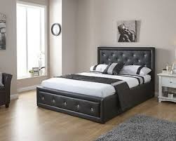 faux leather ottoman. Image Is Loading Double-4ft6-Faux-Leather-Ottoman-Storage-Bed-Diamante- Faux Leather Ottoman A