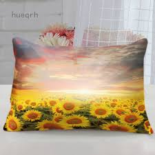 Hueqrh <b>Sunflower printed</b> polyester single-sided <b>sofa</b> cushion ...