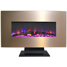 metallic electric fireplace in bronze with multi color log display