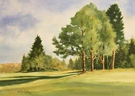 strathcona golf course watercolour painting by ken crawford