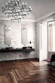Wood And Marble Floor Designs Calacatta Marble Walls Wide Plank Herringbone Wood Floors