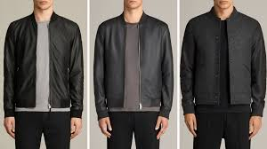 500 allsaints leather er jacket in greyish blue if you already own black mix it up with this neutral like color wear how you normally would