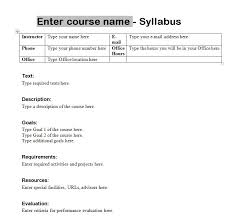Word Syllabus Template Expin Franklinfire Co