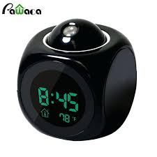 smart digital led projection alarm clock nightlight battery operated temperature talking powered with light