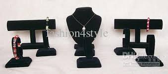 Black Velvet Jewelry Display Stands 100 New Arrival Necklace Bracelet Watch Jewelry Holder Black 57