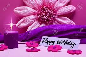 Purple Background With Text Happy Birthday Stock Photo Picture And