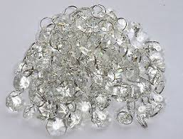 6 of 9 100 chandelier light crystals droplets glass beads drops 14mm lamp parts 2m long