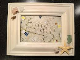take a pic of kids names in the sand and then let decorate the frames